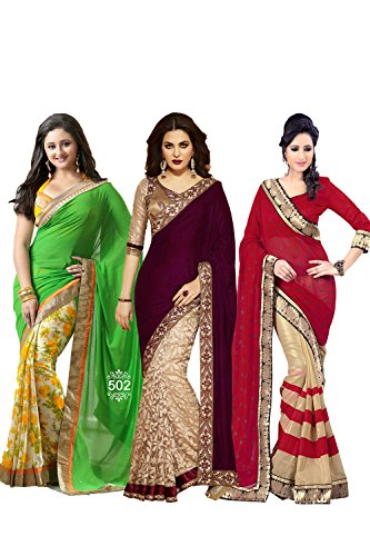Diwali Festive Traditional Partywear Designer Indian Women Saree Combo1 by Da Facioun