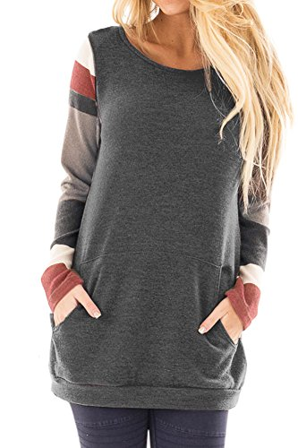 Women Striped Knitted Longsleeve T Shirts Color Blocked Loose Cotton Casual Sweatshirt Tunic Tops Grey L (Striped T-shirt Long)