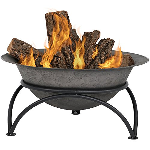 Sunnydaze Small Cast Iron Fire Pit Bowl with Sturdy Stand, Portable Outdoor Patio and Camping Wood Burning Fireplace, Dark Gray, 24 Inch