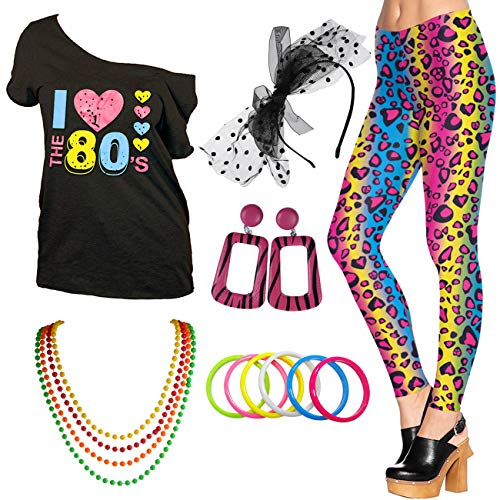 I Love The 80s Disco T-Shirt 1980s Party Theme Costume Outfit Accessories (Medium, Style02)