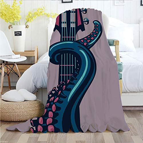 Instrument Musical Cora - Octopus Decor,Throw Blankets,Flannel Plush Velvety Super Soft Cozy Warm with/Octopus Tentacle is Holding Guitar Riff Musical Instrument Rock and Roll Modern Artwork/Printed Pattern(50