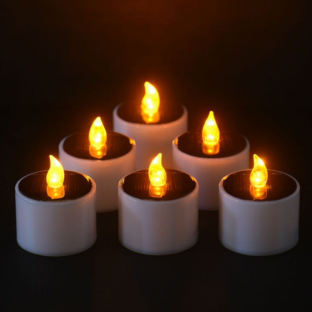Solar Candles, Solar Power Electronic Nightlight LED Candle Lights Flameless Tealights Candles Wedding Decorations Halloween, Yellow Flickering, Pack of 6