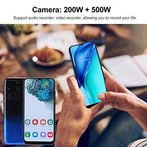 6.2in 3G Smartphone with HD Full-fit Curved Screen, S30U Dual SIM Dual Standby Dual Camera Cell Phone Support Face Unlocked Cell Phone, 3G, 1+8G, WiFi, Bluetooth, with 128G Memory Card(Blue)