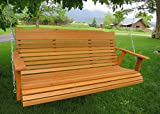 5' Cedar Porch Swing W/stained Finish, Amish Crafted - Includes Chain & Springs