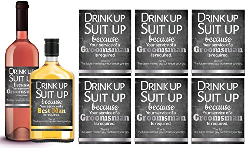 6 Will You Be My Groomsman + 1 BONUS Best Man Proposal Wine Labels or Liquor Labels, Whisky, Vodka, Rum, Beer Bottle Labels or Stickers set, Groomsmen Party Favors, Party Decorations. Proposal by L&P Designs