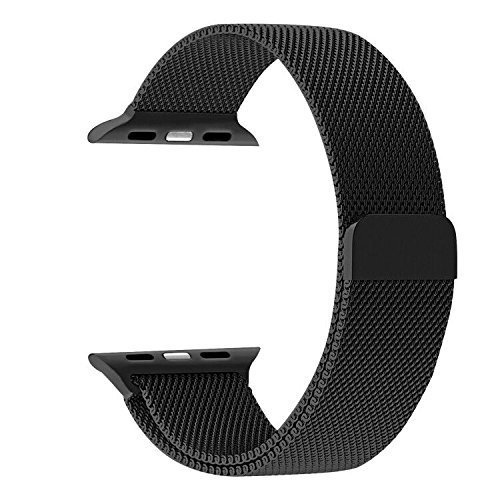 Price comparison product image Apple Watch Band, Fully Magnetic Closure Clasp Stainless Steel Bracelet Strap for smart watch Sport & Edition 42mm - Black