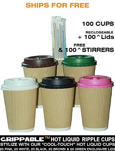 Grippable? Ripple INSULATED 12OZ Hot/Cold Cups, 5 LID COLORS & Stirrers 100PK Disposable - LOCTITE RECLOSEABLE TAB LIDS - Grip EASY - N0 Leaks N0 Sleeves - ECO-SMART - HOME OFFICE PARTY