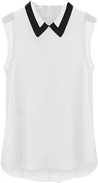 Zanzea Mujer Sexy camisa sin mango solapa camiseta de ...