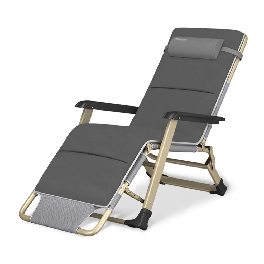 ラウンジチェア 灰色のゼロ重力リクライニング式ガーデン折りたたみ椅子w/取り外し可能なパッド入り枕、調節可能な屋外デッキチェア B07TBC54KT