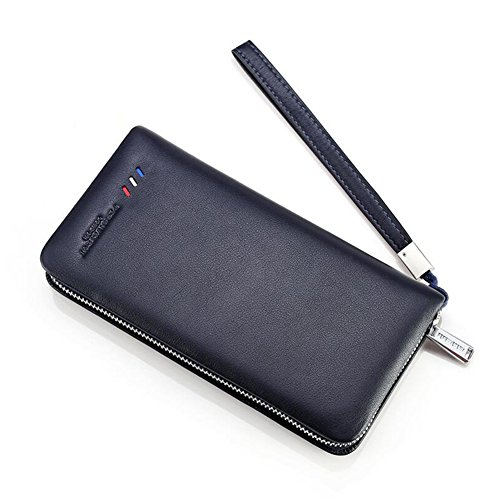 Zipper Color Black Long Blue Leather Men Wallet Honey Leisure Section Blue WALLETS BLACK wXFCq1SSxg