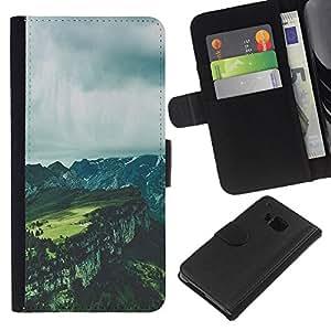 EJOY---La carpeta del tirón la caja de cuero de alta calidad de la PU Caso protector / HTC One M7 / --Grises nubes de verano Canyon
