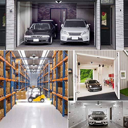LED Garage Ceiling Lights Deformable LED Garage Lights, 60W 6000LM E26 Base Triple Glow, 6000K Ultra Bright Grey Garage Led Light, for Basement Workshop Warehouse, 2 Pack
