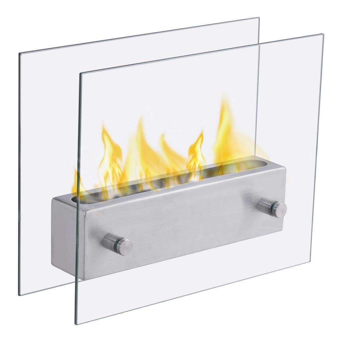 FDInspiration Sliver 14'' Portable Tabletop Bio Ethanol Fireplace w/Metal Fire Cover with Ebook by FDInspiration