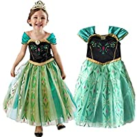 St. Lun Anna Dress Kids Princess Halloween Party Costume Cosplay Queen Frozen Baby Girls Dress,Size:150cm (Size : 120cm)