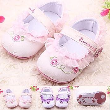 6993488e4b24e HuntGold 1 Paire de chaussures pour bébé en coton blanc fleur d impression  0–