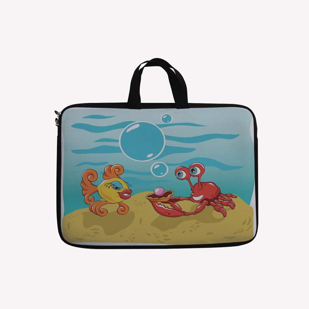 3Dプリントダブルジッパーラップトップバッグ、海の中の魚とカニ、砂付き17インチキャンバス防水ラップトップショルダーバッグ、17インチ/ 17.3インチラップトップと互換性あり 17 inch(16.7