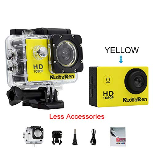 NUOYAREN Action Camera 1080P 12MP Sports Camera Full HD 2.0 Inch Action Cam 30m/98ft Underwater Waterproof Camera with Mounting Accessories Kit (Yellow-Less)