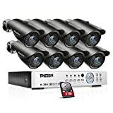 [Better Than 1080N] TMEZON 16CH 1080P AHD Video DVR Security System 8 AHD 2.0MP Super Night Vision 42 IR LEDs HD Outdoor Security Camera QR Code Scan Easy Setup with 2TB HDD