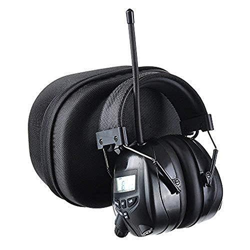 PROTEAR AM FM Radio Headphones for Mowing, Noise Reduction Rate 25dB,Radio Hearing Protection Safety Earmuffs for Work Outside with a Carrying Case