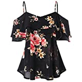 GAMISS Women's Floral Cold Shoulder Top Casual Ruffle Sleeve Layered Chiffon Blouse Black 2XL