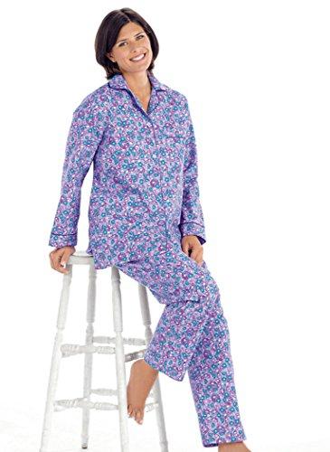 AmeriMark Women's Cozy Flannel Pajamas LG (Lavender Flannel)