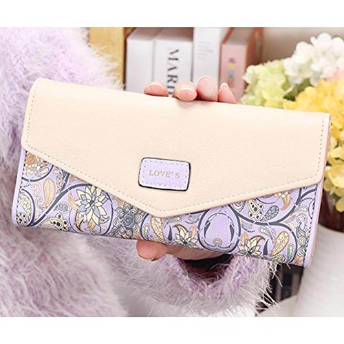 wlgreatsp cuero Bolso de la titular monedero sobre tarjeta cartera de móvil Purple bolsa floral larga frrIAwdq1