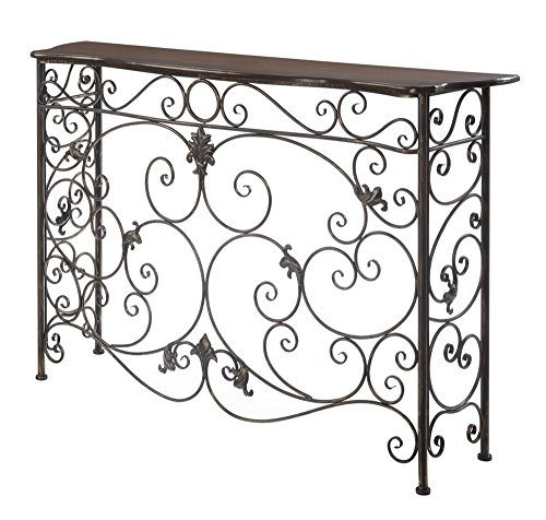 Price comparison product image Convenience Concepts Wyoming Deluxe Metal and Wood Console,  Oak Veneer / Antiqued Bronze