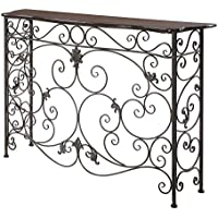 Convenience Concepts Wyoming Deluxe Metal and Wood Console, Oak Veneer/Antiqued Bronze