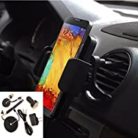 Rugged Heavy Duty Vent Phone Holder for Car or Truck and USB Power Kit fits ZTE Maven 2 even with a cover on it.