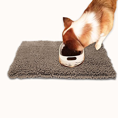 Hevice Dog Doormat Microfiber Door Mat Pet Cat Mats Rugs for Wet Dog Paws Food and Water Crate Absorbent Surface Non Skid Bottom Protects Floors Quick Drying Washable Prevent Mud Dirt Light Tan ()