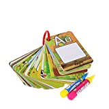Reusable Water Reveal Word Card, Water Drawing Doodle Card Book,Paint with Water, No Chemicals, No Mess, Doodle Pad, Word Flash Card, Educational Toy for Kids, 2 Magic Pen Included, 26 Pieces.