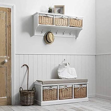 Laura James Fyfield Wall Mounted Coat Rack With 2 Wicker Baskets Grey