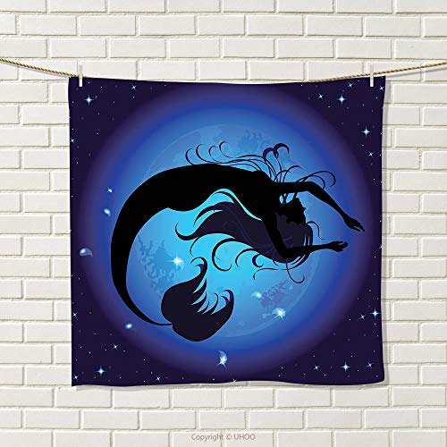 - smallbeefly Mermaid Hand Towel Silhouette of Legendary Aquatic Girl on Moon Sky Background Fictional Print Queen Full Quick-Dry Towels Purple Black Size: W 14