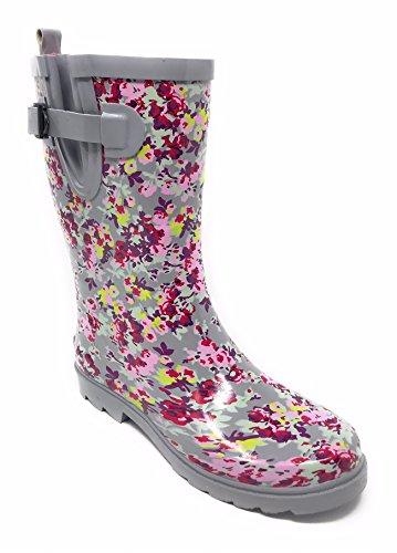 Boots Rain 11'' Rubber Women Calf Ltgrey Mid Young Booties Forever qH6xEgn