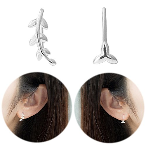 Hot Diamonds Diamond Huggie Earrings (Leaf Studs Ear Crawler Earrings Cuffs Climber Ear Wrap Pin Cute Women Vine Pierced Charms Clip on Jewelry Clip)