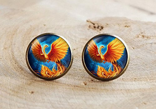 Phoenix stud earrings, Fire and Water earrings, Phoenix fire and water earrings, red and blue Phoenix earrings, Phoenix (Phoenix Costume Images)