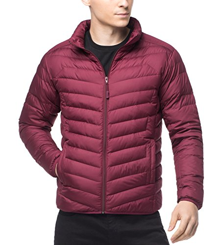 LAPASA Men's Water-Repellant Down Jacket (550 Feathers), Zipper + Interior Pockets, Light Weight, Compactable, Slim-Fit M32 (Max Red (Burgundy), L (Chest 94-104