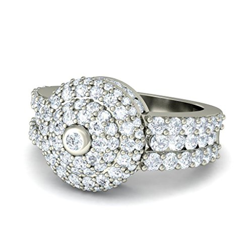18 K Or Blanc, 1.73 carat Diamant Taille ronde (IJ | SI) Cocktail en diamant
