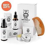 Beard & Mustache Grooming Kit for men - Ultimate Care Kit for Grow Beard - 100% Natural Comb, Oil, Balm, Conditioner for Beard - Mens Set for Softener to beard- Gift Set For Men
