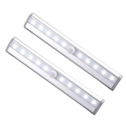 lederTEK 2 Paquetes 10 LED de Luz con Sensor de Movimiento Lámpara del Armarios, Pasillos
