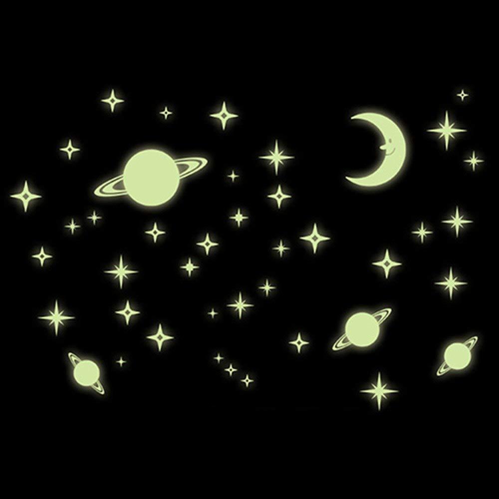 EmmiJules Wandtattoo Planeten Kinderzimmer Leuchtsticker Lichtschalter Wandaufkleber Wandsticker Nacht Baby Schlafzimmer nachtleuchtend