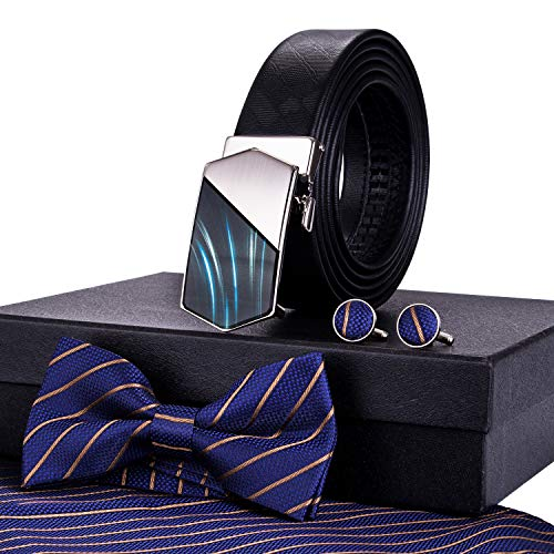 (Barry.Wang Mens Ratchet Belt and Fashion Bowtie Set Silk Handkerchief Pocket,Father's Day Gift)
