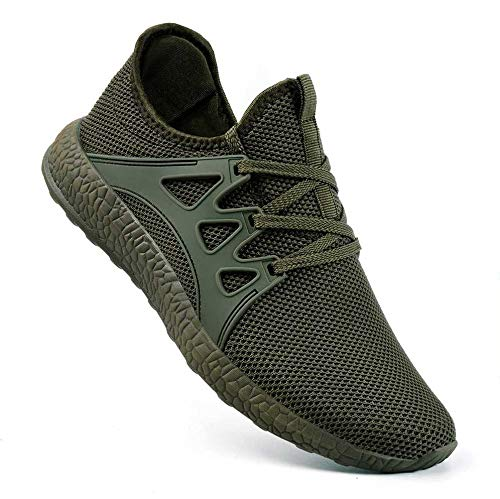 Guteidee Mens Sneakers Running Walking Gym Sport Lightweight Breathable Mesh Street Shoes Green