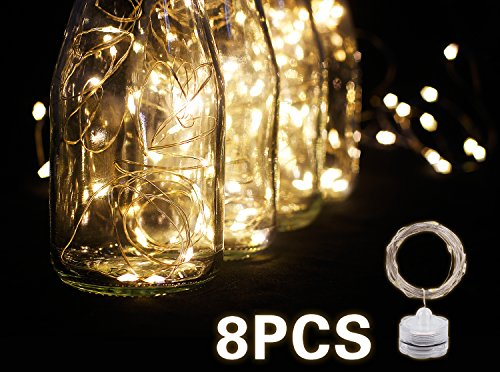 Fairy String Lights, 8 Pack edola 6.3ft Waterproof Mini Starry String Lights Battery Operated | Long Lasting Batteries Included | Fairy Lights For Wedding Centerpiece, Party Decoration (Warm White)