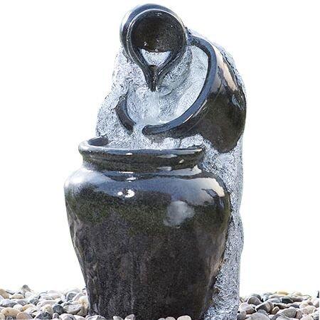 Cascade Outdoor Water Fountain 3-Tier Glazed Pots Decorative Fibeglass Garden Water Fountain by Smarten Arts