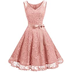 Dressystar Women Floral Lace Bridesmaid Party Dress Short Prom Dress V Neck M Blush