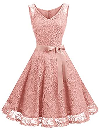 Dressystar Women Floral Lace Bridesmaid Party Dress Short Prom Dress V Neck XS Blush
