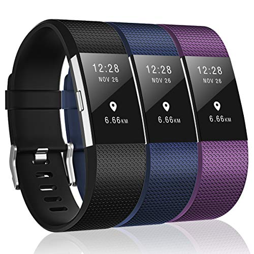 HUMENN Bands Compatible Fitbit Charge 2,3 Pack Classic & Special Edition Replacement Bands Fitbit Charge 2,Black,Navy Blue,Plum