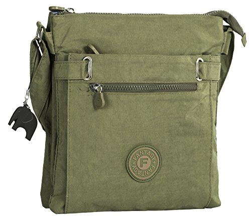 Lightweight Compartment Multi Fabric Crossbody Green Messenger Big Shop with Handbag Elephant Zip Shoulder Olive Bag Charm qUgYEcT1