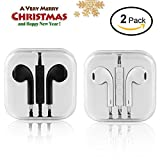 Earphones,In Ear Wired Earbuds,Sport Headset Stereo Headphones Remote Volume Control with Microphone Light Weight Fits Android Apple Other Devices White/Black (2 Pack)